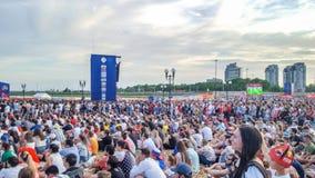June 2018, Russian Federation, Tatarstan, Kazan. Fan fest area.1/8 football world Cup. June 2018, Russian Federation, Tatarstan, Kazan. The fan fest area 1/8 royalty free stock image
