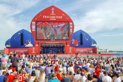 June 2018, Russian Federation, Tatarstan, Kazan. Fan fest area.1/8 football world Cup. June 2018, Russian Federation, Tatarstan, Kazan. The fan fest area 1/8 royalty free stock photo
