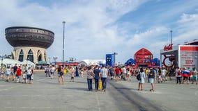 June 2018, Russian Federation, Tatarstan, Kazan. Fan fest area.1/8 football world Cup. June 2018, Russian Federation, Tatarstan, Kazan. The fan fest area 1/8 stock photos