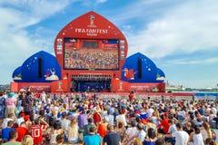 June 2018, Russian Federation, Tatarstan, Kazan. Fan fest area.1/8 football world Cup. June 2018, Russian Federation, Tatarstan, Kazan. The fan fest area 1/8 stock image
