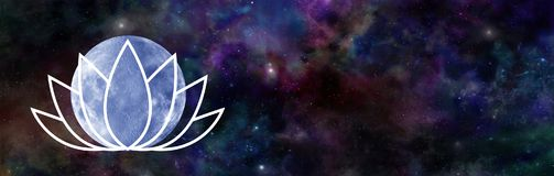 June`s Lotus Moon Night Sky Banner Royalty Free Stock Images
