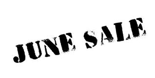 June Sale rubber stamp. Grunge design with dust scratches. Effects can be easily removed for a clean, crisp look. Color is easily changed stock illustration