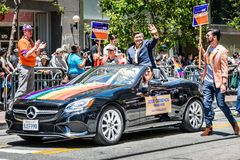 June 30, 2019 San Francisco / CA / USA - José Cisneros, the elected Treasurer of the City and County of San Francisco, taking. Part at the SF Pride Parade on stock photos