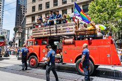 June 30, 2019 San Francisco / CA / USA - San Francisco Fire Department taking part at the SF Pride Parade on Market Street in. Downtown San Francisco stock photos