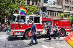 June 30, 2019 San Francisco / CA / USA - San Francisco Fire Department taking part at the SF Pride Parade on Market Street in. Downtown San Francisco stock image