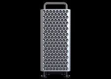 Apple Mac Pro 2019 desktop computer system, front. June 3, 2019 - the San Jose Convention Center, California, USA: Apple Special Event - WWDC Keynote stock photos