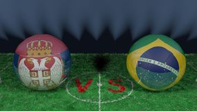 Serbia versus Brazil. 2018 FIFA World Cup.Original 3D image. June 27, Serbia vs Brazil 2018 FIFA World Cup.Original 3D image. Two balloons above a soccer field Stock Photography