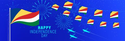 June 18 Seychelles Independence Day greeting card.  Celebration background with fireworks, flags, flagpole and text. Vector illustration royalty free illustration
