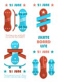 21 June Skate Board Life, it Time to Ride Banner. 21 june skate board life, it time to ride vector illustration, skateboards set, red and blue boards with Royalty Free Stock Image