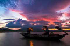 On June 6, 2016, some fishermen are out fishing the reservoir. royalty free stock images