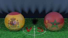 Spain versus Morocco. 2018 FIFA World Cup.Original 3D image. June 25, Spain vs Morocco 2018 FIFA World Cup.Original 3D image. Two balloons above a soccer field Royalty Free Stock Photo