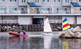 Sailing class on Lake Michigan USA Stock Photo