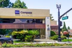 June 1, 2019 Sunnyvale / CA / USA - BBVA Compass Bancshares, Inc. a bank holding company branch close to downtown Sunnyvale,. South San Francisco bay area royalty free stock photos