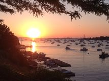 June sunrise Marblehead harbor stock image