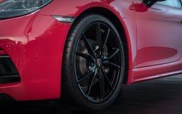 17 June, 2018. Suzhou city, China. Close-up photo of red Porsche 718 Boxter GTS at motorshow stock photos