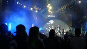 June 1, 2018 - Svidivok village, Ukraine: Tarasova Gora Moto Festival, the guitarist plays a rock concert on an electric. Guitar and the singer sings stock footage