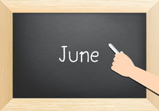 June text on blackboard Stock Photos