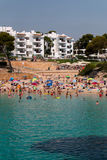 June 16th, 2017, Cala D`or, Mallorca, Spain - view of the beach from the sea with a lot of people in the water. June 16th, 2017, Cala D`or, Mallorca, Spain Stock Photo