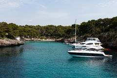 June 16th, 2017, Cala Sanau, Mallorca, Spain - boats near the beach Stock Image