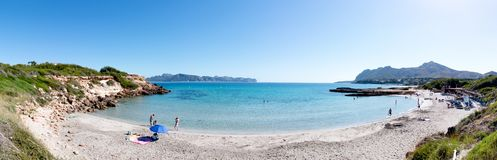June 15th, 2016, Carrer Sant Joan, Mallorca, Spain - Sant Joan Beach. Situated on Mal Pas on the Alcúdia peninsula in North Majorca Royalty Free Stock Photos