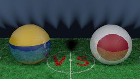 Colombia versus Japan. 2018 FIFA World Cup.Original 3D image. June 19th, Colombia vs Japan 2018 FIFA World Cup.Original 3D image. Two balloons above a soccer Stock Image