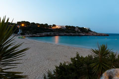 June 16th, 2017, Felanitx, Spain - view of Cala Marcal beach at sunset without any people Royalty Free Stock Photo