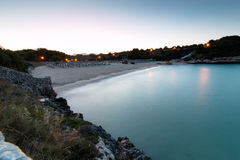 June 16th, 2017, Felanitx, Spain - view of Cala Marcal beach at sunset without any people Stock Photography