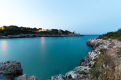 June 16th, 2017, Felanitx, Spain - view of Cala Marcal beach at sunset without any people Stock Photo