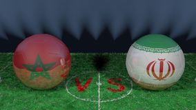 Morocco versus Iran. 2018 FIFA World Cup.Original 3D image. June 15th, Morocco vs Iran 2018 FIFA World Cup.Original 3D image. Two balloons above a soccer field Royalty Free Stock Photography
