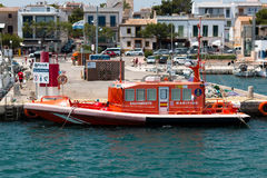 June 16th, 2017, Porto Colom, Spain - sea rescue boat at the Porto Colom Harbor Royalty Free Stock Photos