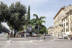 June 10, 2017, tourists in magic Verona streets, Italy royalty free stock photos
