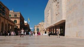 June 3 2016 Valletta, Malta. Center of Valletta - capital of Malta - walking people stock video footage