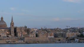 June 3 2016 Valletta, Malta. Dolly shot along shore of the city stock video