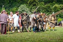 10-11 June 2017. Vienne, France. Gallo-Roman Days historic festival. Dacians from Terra Dacica Aeterna groupe, in the historic roman festival in Vienne, France Royalty Free Stock Photo