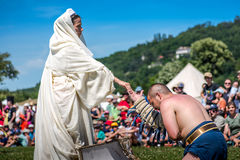 10-11 June 2017. Vienne, France. Gallo-Roman Days historic festival. Defeated gladiator begging for mercy in the historic roman festival in Vienne, France Royalty Free Stock Photo
