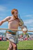 10-11 June 2017. Vienne, France. Gallo-Roman Days historic festival. Gladiator preparing for the fight in front of the audience, in the historic roman festival Stock Photo