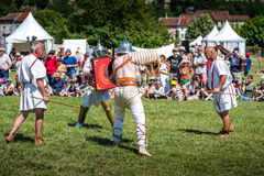 10-11 June 2017. Vienne, France. Gallo-Roman Days historic festival. Gladiators fights in front of the audience, in the historic roman festival in Vienne Royalty Free Stock Images