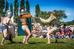 10-11 June 2017. Vienne, France. Gallo-Roman Days historic festival. Gladiators fights in front of the audience, in the historic roman festival in Vienne Stock Images