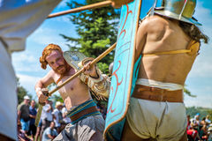 10-11 June 2017. Vienne, France. Gallo-Roman Days historic festival. Gladiators fights in front of the audience, in the historic roman festival in Vienne Stock Image