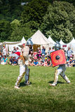 10-11 June 2017. Vienne, France. Gallo-Roman Days historic festival. Gladiators fights in front of the audience, in the historic roman festival in Vienne Royalty Free Stock Photography