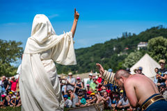 10-11 June 2017. Vienne, France. Gallo-Roman Days historic festival. Roman patrician giving the mercy to a defeated gladiator, in the historic roman festival in Royalty Free Stock Images