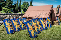 10-11 June 2017. Vienne, France. Gallo-Roman Days historic festival. Roman shields and tents from Legio V Macedonica, in the historic roman festival in Vienne Stock Photography