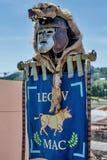 10-11 June 2017. Vienne, France. Gallo-Roman Days historic festival. Roman war flag and helmet from Legio V Macedonica, in the historic roman festival in Vienne Royalty Free Stock Photo