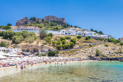 21 JUNE 2017. View of the beach ant the fortress in Lindos town. Royalty Free Stock Photos