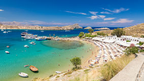21 JUNE 2017. View of the beach in Lindos town. Rhodes, Greece Stock Photos