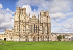 Wells Cathedral Somerset UK. 6 June 2017: Wells, Somerset, England, UK - The West Front of Wells Cathedral and Cathedral Green, Wells, Somerset, England, UK Stock Image