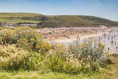 Woolacombe Beach Devon. 17 June 2017: Woolacombe, North Devon, England, UK - The busy beach on one of the hottest days of the year Stock Images