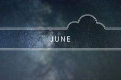 JUNE word cloud Concept. Space background. JUNE word cloud Concept stock photo