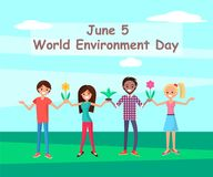 June 5 World Environment Day Connecting People. With nature poster encouraging awareness and action for protection of ecology, people with plants in hands stock illustration
