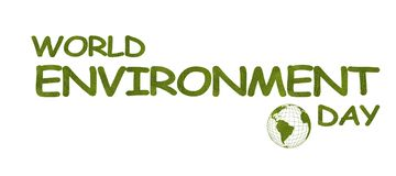 June 5 is World Environment Day. Words made from green leaves on white background. The contour of the globe with the continents of vector illustration